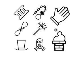Conjunto de ícones de carvão de chaminé e aquecimento vetor