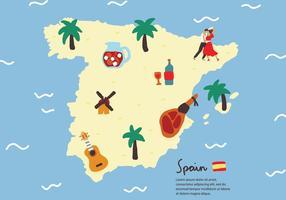 Vector de mapa de elemento espanhol típico