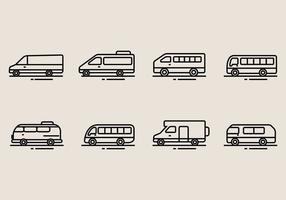 Ícones do Minibus vetor