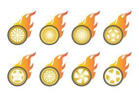 Vetor de ícone de rodas de queimadura livre
