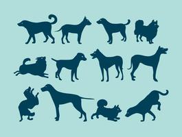 Silhuetas de cães azuis