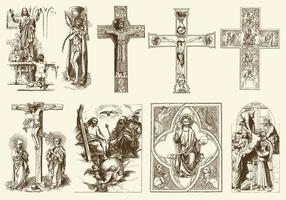 Ilustrações vintage de Jesus vetor