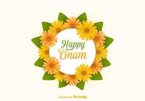 Cartão Onam Flores Feliz Vector Grátis