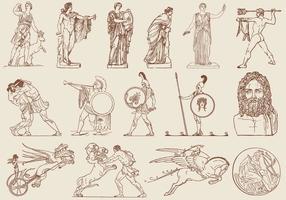 Ilustrações de arte grega marrom vetor
