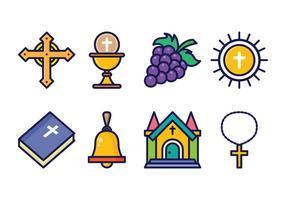 Conjunto de ícones da Eucaristia grátis vetor