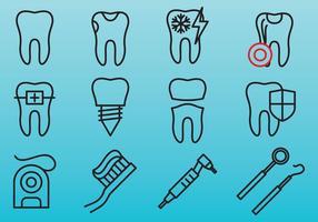 Ícones de linha de cuidados dentários vetor