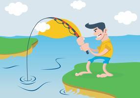 Um homem que pesca no rio vetor