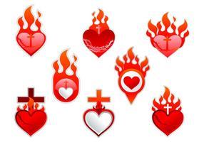 Etiqueta do rótulo do Sagrado Coração vetor