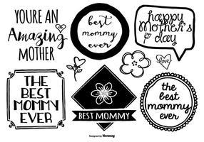 Conjunto de etiquetas do dia da mãe desenhado à mão vetor
