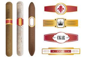 Modelo de cigarro e etiquetas vetor
