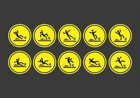 Ícones de sinal de piso molhado vetor