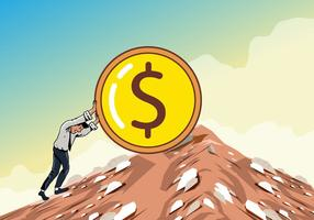Homem empurrando a subida do dólar vetor