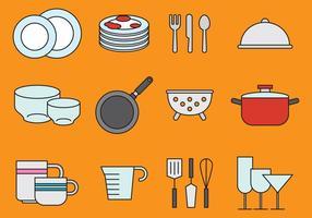 Ícones bonitos da louça e da cozinha vetor