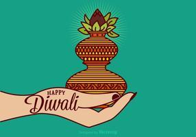 Cartão feliz feliz do vetor de Diwali