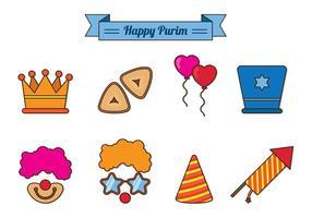 Conjunto de ícones de celebração de Purim vetor