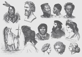 Penteados cinza e ilustrações de Headdress vetor