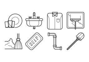 Vector grátis de limpeza e lavagem de ícones