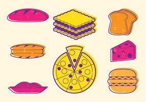 Ícones de comida italiana vetor