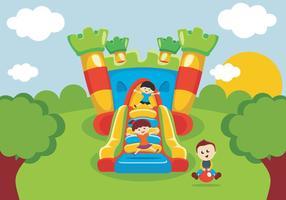 Kids Fun Fun on Bounce House vetor
