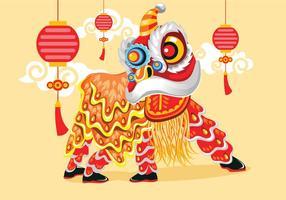 Ilustração vetorial, tradicional, chinês, leão, dança, festival, fundo vetor