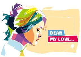 Querido, meu retrato de vetor de amor