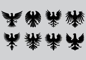 Conjunto de ícones de águia polonesa vetor