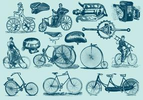Ilustrações da bicicleta do vintage azul