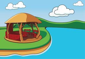 Gazebo acolhedor no lago vetor