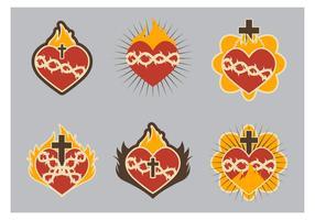 Ícone do coração sagrado liso fofo vetor