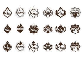 Coleção do ícone do coração sagrado vetor