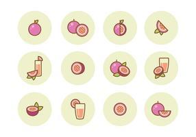 Ícones gratuitos da fruta da paixão vetor