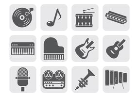 Ícone de ícones de equipamentos de instrumentos de música grátis vetor