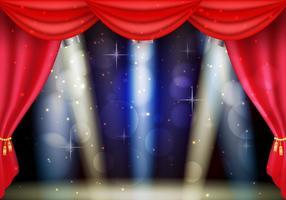 Cortinas vermelhas de teatro com fundo relâmpago vetor