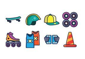 Pacote grátis para ícones de skate vetor