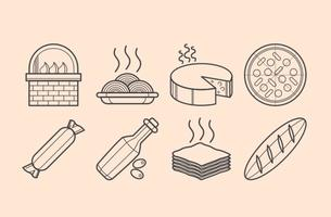 Vector de ícones de comida italiana grátis