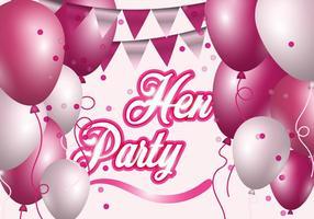 Partido da galinha com ilustração do balão cor-de-rosa e branca vetor