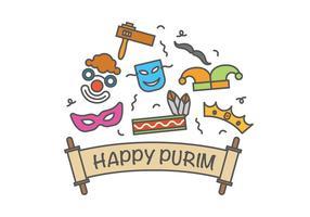 Ícones do vetor Happy Purim