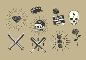 Conjunto de vetores de tatuagem da velha escola livre