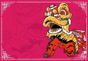 Dança do leão e ano novo chinês vetor