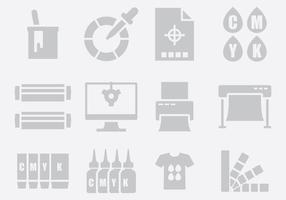 Ícones de impressão cinza