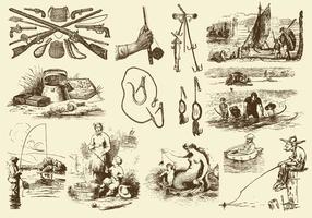 Ilustrações de bastão de pesca em sepia vetor