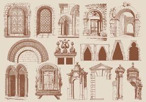 Elementos de arquitetura marrom vetor