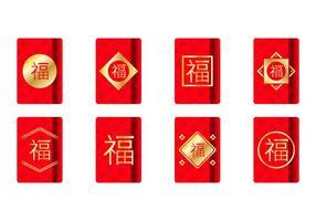 Molde de pacotes vermelhos Golden Chinese grátis vetor