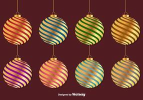 Esferas douradas do vetor do Natal