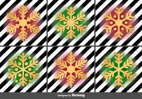 Ícones de vetor de flocos de neve dourados