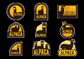 Etiquetas de vetores de alpaca