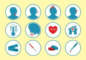 Conjunto do vetor do ícone doente e médico