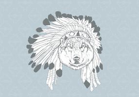 Lobo desenhado a mão com capota vetor