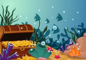 Sob a cena da água com a ilustração do tesouro