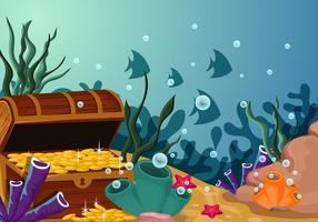 Sob a cena da água com a ilustração do tesouro vetor